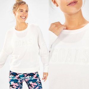 Fabletics Stacey Pullover Goals White Sweater